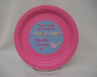 "Birdie/Baby Bird Personalized/Customized Birthday Party/Baby Shower 9"" or 7"" Paper Plates. ""Tweet, Tweet, isn't is sweet..."""