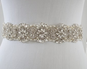 Bridal Sash Belt, Bridal Belt, Sash Belt, Wedding Dress Belt, Crystal Rhinestone Belt, Style 156