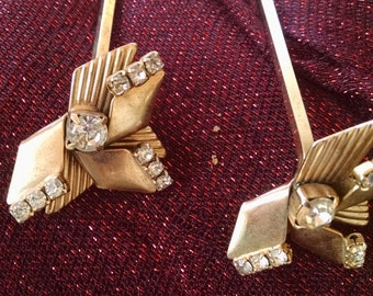 Vintage 1940s..Goldtone with white rhinestones..Matching Hair or Hat Pins