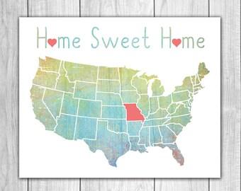 Home Sweet Home - 8x10 Missouri Print, Art Print, Home Decor, Printable Home Decor, Missouri Printable, Printable Art