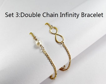 Set of Three 3. Double Chain Infinity Bracelet. Gift for 3 sisters. three best friends Bracelets set.Best friend gift,BFF,Infinity bracelet