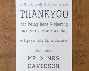 Personalised Thank You Wedding Sign (A4) Shabby Chic/Rustic