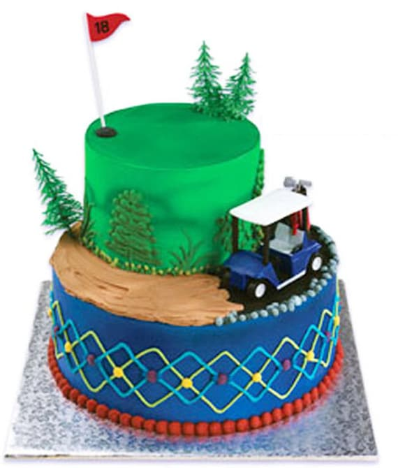 Golf Cake Decorating Kit : Blue Golf Cart Cake Decorating Kit Party by CakeAndCandyDreams