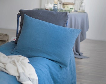 Set of 2 washed soft linen pillowcase.
