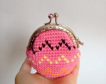 Handmade crochet coin purse with silver color nozzle - READY TO SHIP -