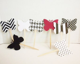 Butterfly Cupcake Toppers-Cupcake Toppers, Butterflies, Toppers, Cupcakes, Party Toppers,