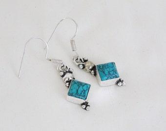 Turquoise dangle earrings, Turquoise silver plated earrings, Light Dangle Birthstone Earrings, Turquoise Earring