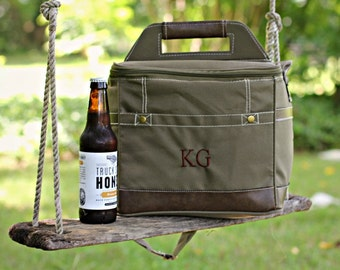 Set of 5 Personalized Groomsmen Insulated Cooler w/ Removable Dividers - Beer Coolor Personalized - Insulated Beverage Bag - Groomsman Gift