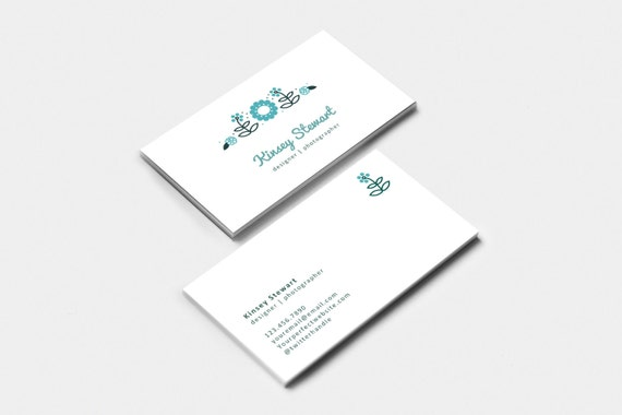 editable business card template flowers by ksgraphics on etsy