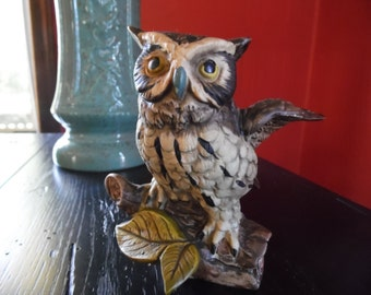 Vintage Realistic Norleans Ceramic Owl Made in Japan