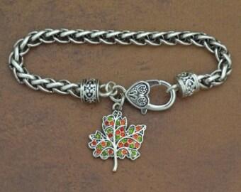 Autumn Leaf Rhinestone Charm Bracelet Fall Halloween Thanksgiving Jewelry