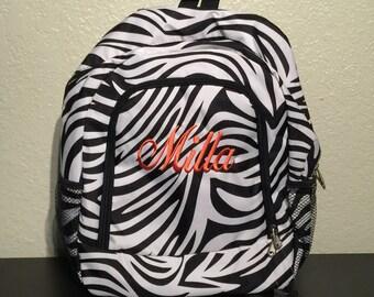 Zebra Print Monogrammed School Backpack with Black Trim