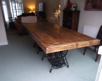 Perfect Large Rustic Dining Table With 2 Vintage Singer Sewing Machine Treadles.  Handmade From Reclaimed Timber