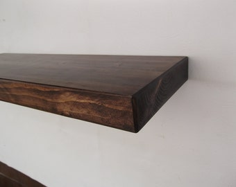 Rustic Chunky Floating Shelf.    Handmade from solid timber  60 x 22x 4.5cm finished in walnut   wax