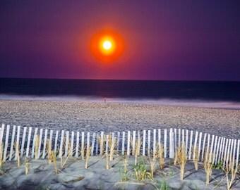 Sunset on Ocean City NJ Beach Canvas Art 20x27