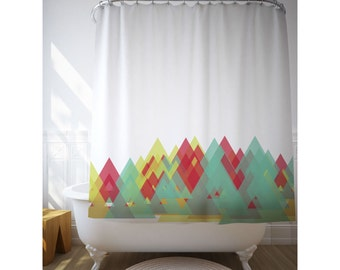 Geometric Art Shower Curtain, Graphic Pattern, Triangles, Bath Decor, Abstract Curtain, Bathroom Accessories