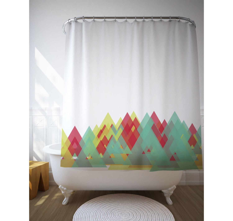 Geometric Art Shower Curtain Graphic Pattern Triangles Bath