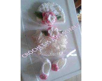 Crochet newborn flower hat set for baby
