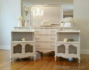 Unavailable! Hollywood Glam White & Silver Chrome French Provincial Dresser Nightstands Mirror Damask Shimmer Metallic Boudoir Serpentine