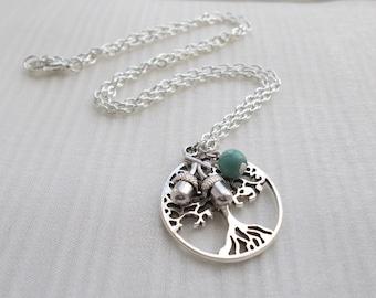 tree of life necklace handmade jewellery silver necklace tree charm necklace turquoise bead necklace bead jewellery tree necklace gift her