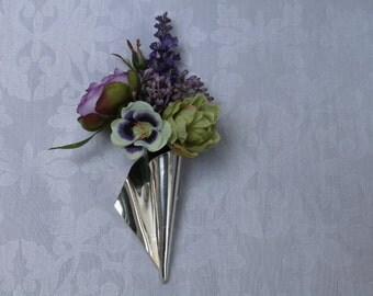 Sterling silver corsage flute pin