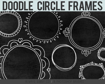 Doodle Circle Frames, Photoshop Brushes, Clip Art, Hand Drawn Borders - 8 Brushes