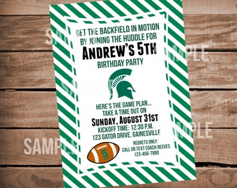 Michigan State Football Birthday Party Invitation with Stripes