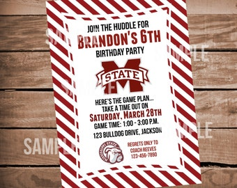 Mississippi State Bulldogs Football Birthday Party Invitation with Stripes