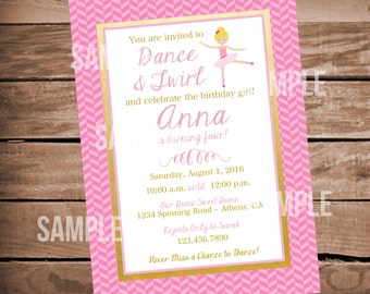 Ballerina Dance Birthday Party Invitation - Pink