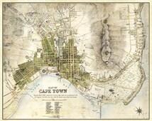 Cape Town Map Vintage South African Atlas Poster Cape Town Street Map 1884 Bar Den Wall Art Print