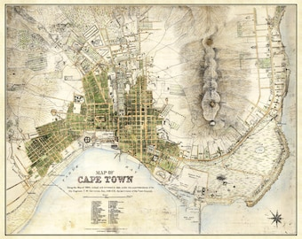 Cape Town Map Vintage South African Atlas Poster Cape Town Street Map 1884 Bar Den Wall Art Print