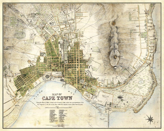Cape Town Map Vintage South African Atlas Poster Cape Town