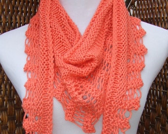 Orange triangle scarf, coral spring scarf, cotton scarf, lightweight scarf, trendy accessory, open work scarf