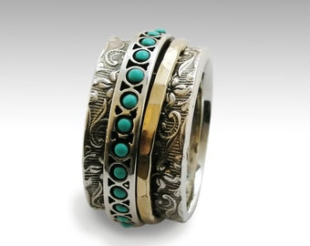 Sterling silver Turquoise Eternity ring, Turquoise stone Wedding band, Spinner ring, Silver handmade jewelry, silver ring for men, Sale