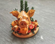 1/12th scale Tudor Boars/Pigs head platter with pomegranates. By Mini-things