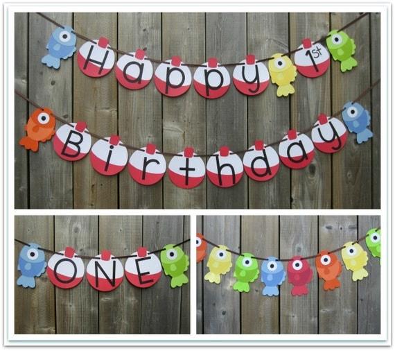 Gone Fishing Themed Banner Set Happy Birthday Fish Banner