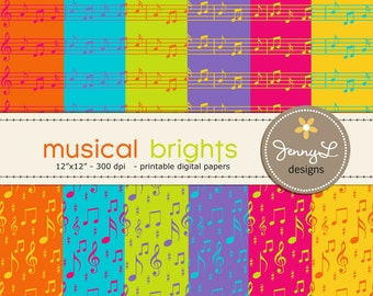 Musical Notes Digital Papers in Bright Colors for Digital Scrapbooking, Invitations and more