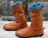 Moccasins, leather boots, native american moccasins, leather moccasins, shoes, thai cotton, ethnic wear, boho, bohemian, hippie, handmade