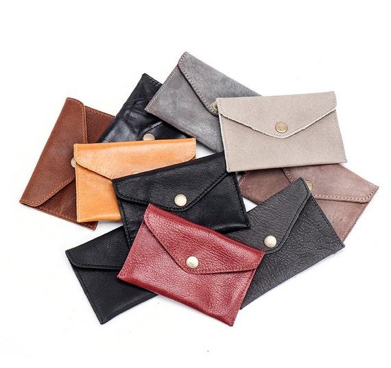 Light Brown Slim Leather Wallet / Leather Coin Purse / Mens Wallet / Unisex Wallet / Little Purse / Pocket Wallet - Niki