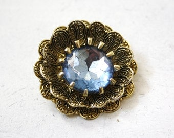 gold and blue vintage flower brooch