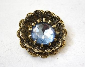 gold and blue vintage flower brooch