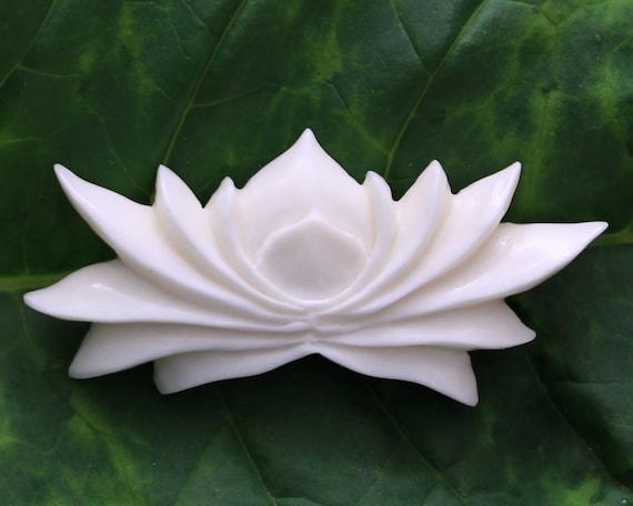 Lotus flower bone carving center piece yoga meditation