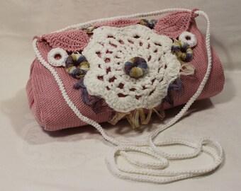 Cross body bag, small knitted across body bag, bright colourful light pink. Women, girls, teens.