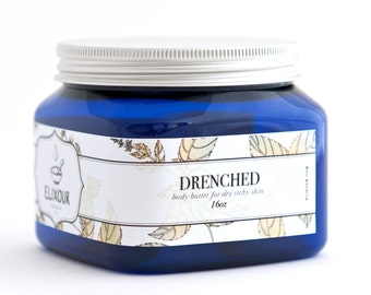 DRENCHED Organic Body Butter for Dry Itchy Skin 16 oz