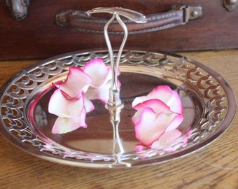 Vintage silverplate tray with centre handle made in Australia