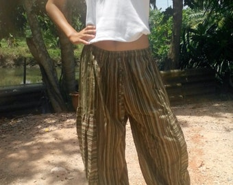 Ladies Baggy Pants Trousers Balloon Pants Beach Pants Yoga Gym Striped Olive