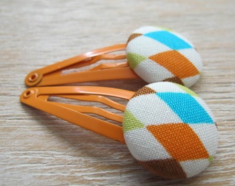 Fabric Covered Button Snap Clip - Diamonds (Set of 2)