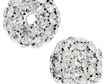 25mm Beadelle Silver Crystal Rhinestone Balls (2 pcs)