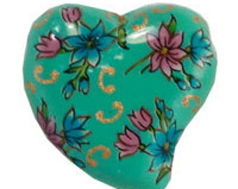 Ceramic Painted HeartPendant - Turquoise (12pcs)