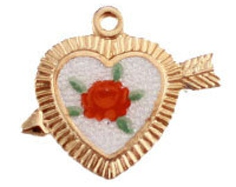 Heart Cupid Pendant with Enamel Rose (12pcs)